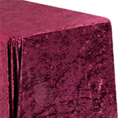 "Premade Velvet Tablecloth - 90"" x 132"" Rectangular - Burgundy"