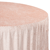 "Premade Velvet Tablecloth - 120"" Round - Blush/Rose Gold"