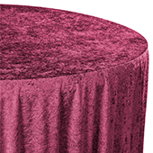"Premade Velvet Tablecloth - 120"" Round - Burgundy"