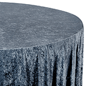 "Premade Velvet Tablecloth - 120"" Round - Dark Slate Blue"