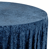 "Premade Velvet Tablecloth - 120"" Round - Navy Blue"