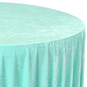 "Premade Velvet Tablecloth - 120"" Round - Light Turquoise"