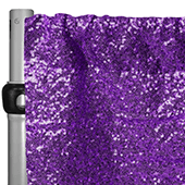 "Purple Sequin Backdrop Curtain w/ 4"" Rod Pocket by Eastern Mills - 12ft Long x 4.5ft Wide"