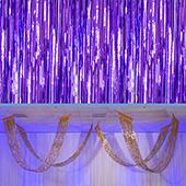 Purple - Metallic Fringe Ceiling Curtain - Choose your Length