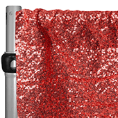 "Red Sequin Backdrop Curtain w/ 4"" Rod Pocket by Eastern Mills - 10ft Long x 4.5ft Wide"