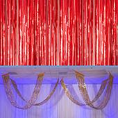 Red - Metallic Fringe Ceiling Curtain - Choose your Length
