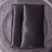 "Black - Deco Satin Napkin - 17"" x 17"" - 10 PACK"