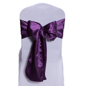 "DecoStar™ Dark Purple Deco Satin Chair Sash - 8"" x 108"" - 10 PACK"