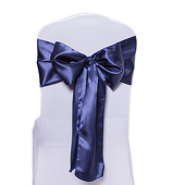 DecoStar™ Navy Blue Deco Satin Chair Sash - 8
