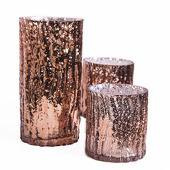 DecoStar™ Set of 3! Glam Wavy Etched Pattern Mercury Glass Candle/Votive Holder - Bronze