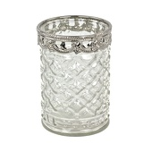 DecoStar™ 6 PACK - Diamond Etched Glass Candle Holder W/ Silver Trim - Small