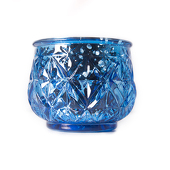"DecoStar™ 2 1/2"" Glam Diamond Etched Mercury Glass Candle/Votive Holder - Blue - 6 PACK"