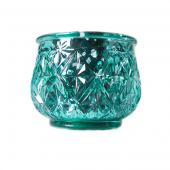 "DecoStar™ 2 1/2"" Glam Diamond Etched Mercury Glass Candle/Votive Holder - Green - 6 PACK"