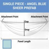 Single Piece - Angel Blue Sheer Prefabricated Ceiling Drape Panel - Choose Length and Drop!