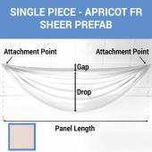 Single Piece -Apricot FR Sheer Prefabricated Ceiling Drape Panel - Choose Length and Drop!