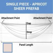 Single Piece - Apricot Cream Sheer Prefabricated Ceiling Drape Panel - Choose Length and Drop!