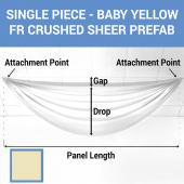 Single Piece - Baby Yellow Crushed Sheer Prefabricated Ceiling Drape Panel - Choose Length and Drop!