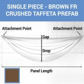 Single Piece - Brown Crushed Taffeta Prefabricated Ceiling Drape Panel - Choose Length and Drop!