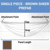 Single Piece - Brown Sheer Prefabricated Ceiling Drape Panel - Choose Length and Drop!