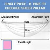 Single Piece - Bubble Gum Pink Crushed Sheer Prefabricated Ceiling Drape Panel - Choose Length and Drop!