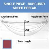 Single Piece - Burgundy Sheer Prefabricated Ceiling Drape Panel - Choose Length and Drop!