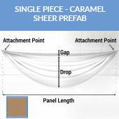 Single Piece -Caramel Sheer Prefabricated Ceiling Drape Panel - Choose Length and Drop!