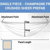Single Piece - Champagne Crushed Sheer Prefabricated Ceiling Drape Panel - Choose Length and Drop!