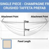 Single Piece - Champagne Crushed Taffeta Prefabricated Ceiling Drape Panel - Choose Length and Drop!