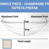 Single Piece - Champagne Taffeta Prefabricated Ceiling Drape Panel - Choose Length and Drop!