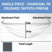 Single Piece - Charcoal Crushed Taffeta Prefabricated Ceiling Drape Panel - Choose Length and Drop!