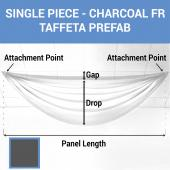 Single Piece - Charcoal Taffeta Prefabricated Ceiling Drape Panel - Choose Length and Drop!