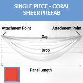Single Piece -Coral FR Sheer Prefabricated Ceiling Drape Panel - Choose Length and Drop!