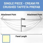 Single Piece - Cream Crushed Taffeta Prefabricated Ceiling Drape Panel - Choose Length and Drop!