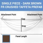 Single Piece - Dark Brown Crushed Taffeta Prefabricated Ceiling Drape Panel - Choose Length and Drop!