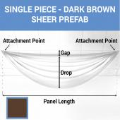 Single Piece - Dark Brown Sheer Prefabricated Ceiling Drape Panel - Choose Length and Drop!
