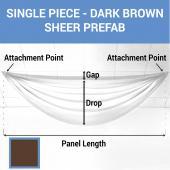 Single Piece - Dark Brown Sheer Prefabricated Ceiling Drape Panel - Choose Length and Drop!