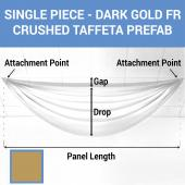 Single Piece - Dark Gold Crushed Taffeta Prefabricated Ceiling Drape Panel - Choose Length and Drop!