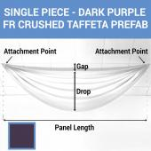 Single Piece - Dark Purple Crushed Taffeta Prefabricated Ceiling Drape Panel - Choose Length and Drop!