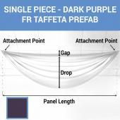 Single Piece - Dark Purple Taffeta Prefabricated Ceiling Drape Panel - Choose Length and Drop!