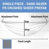 Single Piece - Dark Silver Crushed Sheer Prefabricated Ceiling Drape Panel - Choose Length and Drop!