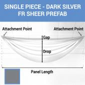 Single Piece -Dark Silver FR Sheer Prefabricated Ceiling Drape Panel - Choose Length and Drop!