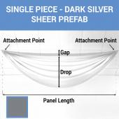 Single Piece - Dark Silver Sheer Prefabricated Ceiling Drape Panel - Choose Length and Drop!