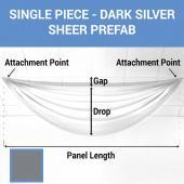 Single Piece - Dark Silver Sheer Prefabricated Ceiling Drape Panel - Choose Length and Drop!
