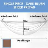 Single Piece -Dark Blush Sheer Prefabricated Ceiling Drape Panel - Choose Length and Drop!