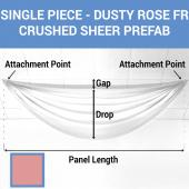 Single Piece - Dusty Rose Crushed Sheer Prefabricated Ceiling Drape Panel - Choose Length and Drop!
