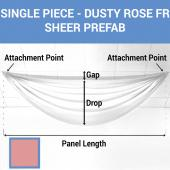 Single Piece -Dusty Rose FR Sheer Prefabricated Ceiling Drape Panel - Choose Length and Drop!