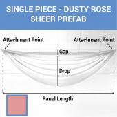 Single Piece - Dusty Rose Sheer Prefabricated Ceiling Drape Panel - Choose Length and Drop!