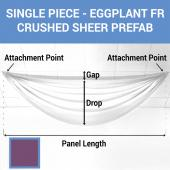 Single Piece - Eggplant Crushed Sheer Prefabricated Ceiling Drape Panel - Choose Length and Drop!