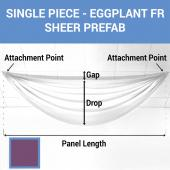 Single Piece -Eggplant FR Sheer Prefabricated Ceiling Drape Panel - Choose Length and Drop!