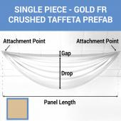 Single Piece - Gold Crushed Taffeta Prefabricated Ceiling Drape Panel - Choose Length and Drop!